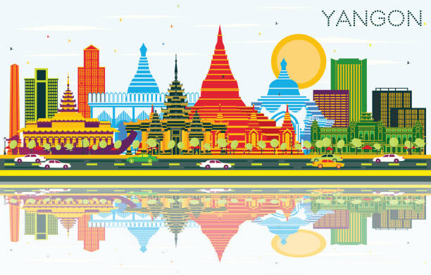 yangon myanmar city skyline with color buildings, blue sky and reflections. - burma home do stock illustrations