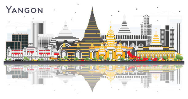 yangon myanmar city skyline with gray buildings and reflections isolated on white. - burma home do stock illustrations