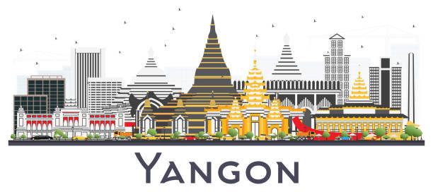 yangon myanmar city skyline with gray buildings isolated on white. - burma home do stock illustrations