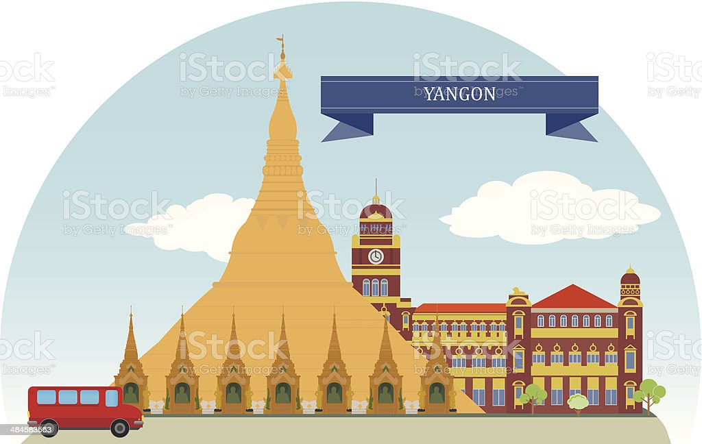 Yangon, Myanmar vector art illustration