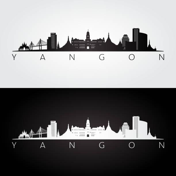 yangon skyline and landmarks silhouette, black and white design, vector illustration. - burma home do stock illustrations