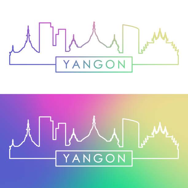 panoramę yangon. kolorowy styl liniowy. edytowalny plik wektorowy. - burma home do stock illustrations