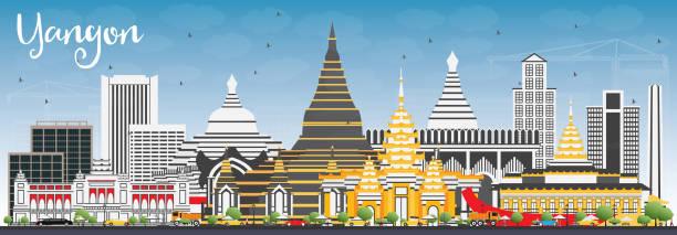 yangon skyline with gray buildings and blue sky. - burma home do stock illustrations