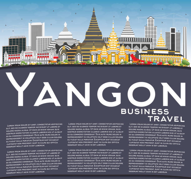 yangon skyline with gray buildings, blue sky and copy space. - burma home do stock illustrations