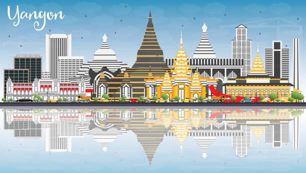 yangon skyline with gray buildings, blue sky and reflections. - burma home do stock illustrations