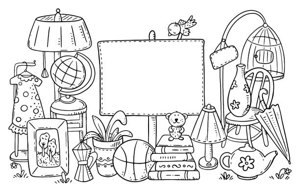 Yard or garage sale of used stuff with a blank frame vector art illustration