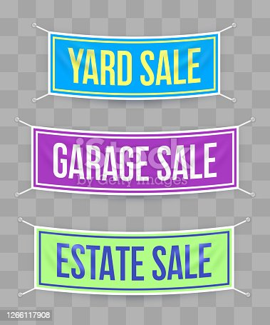 istock Yard Sale Garage Sale Estate Sale Hanging Banners 1266117908