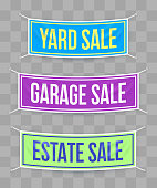 Garage sale, yard sale and estate sale hanging banners for discount offer and sale offers.