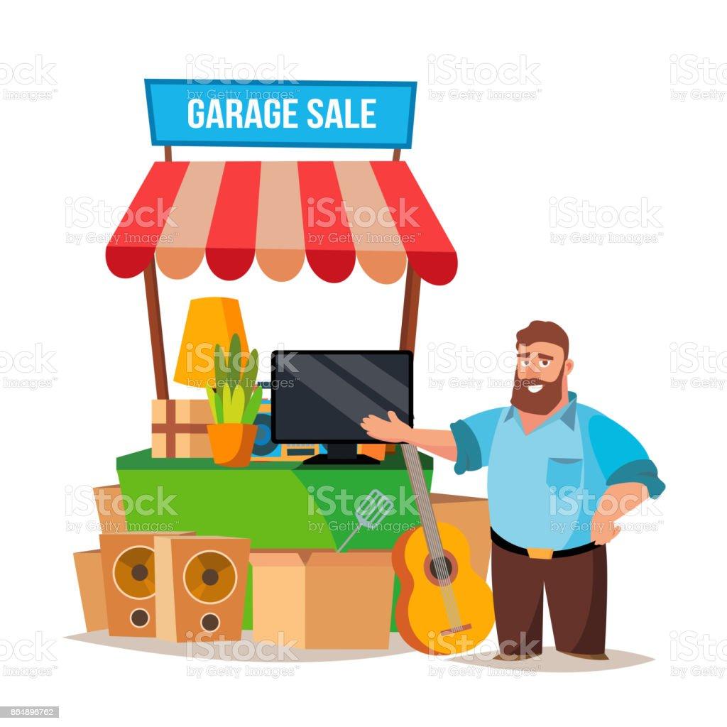 Vecteur de vente de bric-à-brac. Homme d'avoir une vente de Garage. Isolé sur blanc Cartoon caractère Illustration - Illustration vectorielle