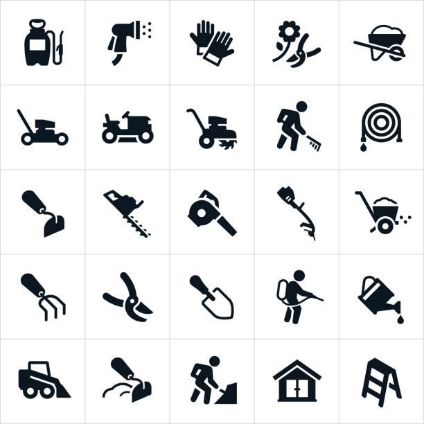 hof-werkzeuge und geräte symbole - schutzhandschuhe stock-grafiken, -clipart, -cartoons und -symbole