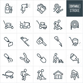 A set of yard tool icons that include editable strokes or outlines using the EPS vector file. The icons include a tank sprayer, spray nozzle, gardening gloves, pruning shears, lawn mower, riding lawnmower, tiller, person raking, garden hose, hoe, shrub trimmer, leaf blower, grass trimmer, fertilizer spreader, garden shovel, person pushing a lawnmower, person using a hoe, person using a tank sprayer, watering can, wheel barrow, shed and ladder.