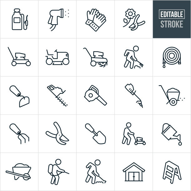 Yard Tools Thin Line Icons - Editable Stroke A set of yard tool icons that include editable strokes or outlines using the EPS vector file. The icons include a tank sprayer, spray nozzle, gardening gloves, pruning shears, lawn mower, riding lawnmower, tiller, person raking, garden hose, hoe, shrub trimmer, leaf blower, grass trimmer, fertilizer spreader, garden shovel, person pushing a lawnmower, person using a hoe, person using a tank sprayer, watering can, wheel barrow, shed and ladder. gardening stock illustrations