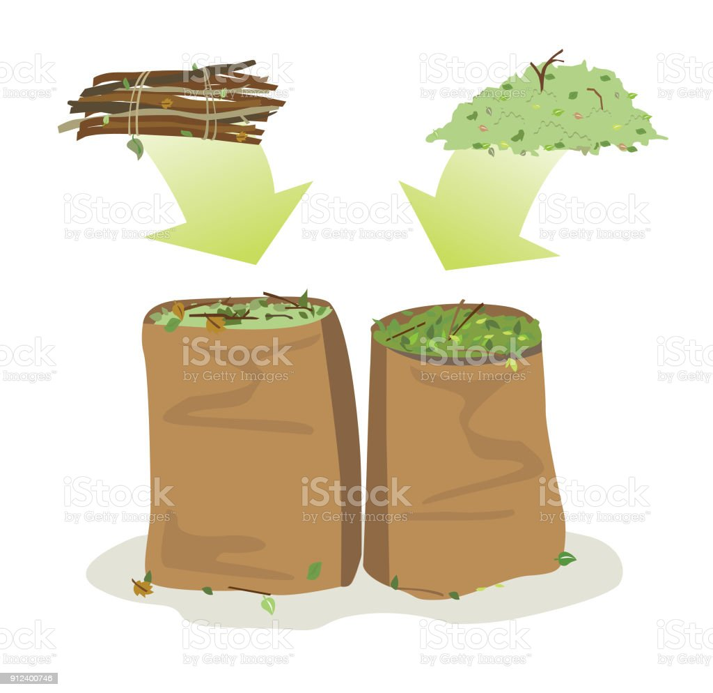 yard waste bags recycled garden waste such as leaves and branches collected in bag to be recycled Bag stock vector