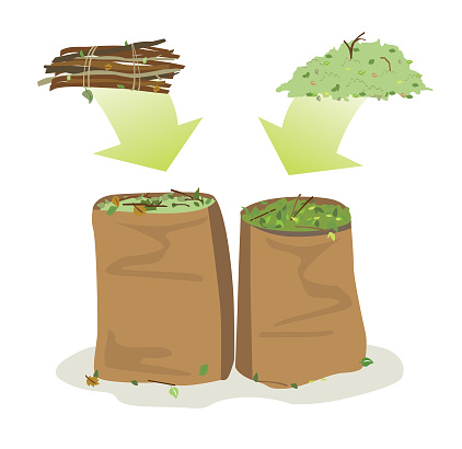 Yard Waste Bags Recycled Stock Illustration - Download Image Now