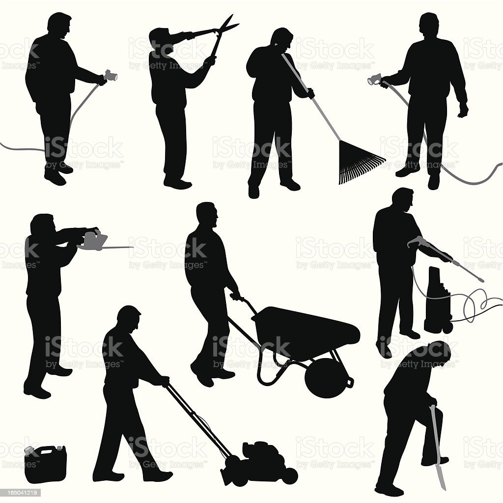 Yard Work Vector Silhouette royalty-free yard work vector silhouette stock vector art & more images of adult