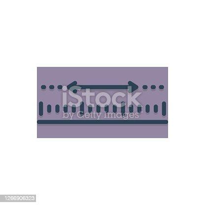 Icon for yardage, measurement, meterage, dimension, ruler, inch, centimeter