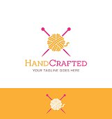 yarn and knitting needles icon for creative use