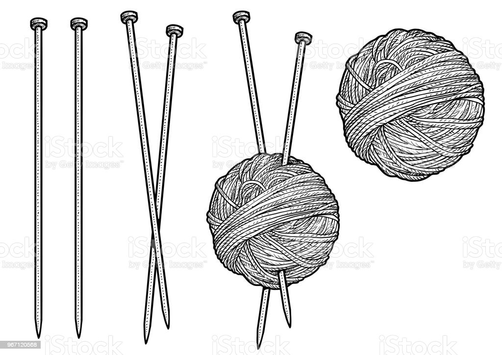 Yarn and knitting needles illustration, drawing, engraving, ink, line art, vector yarn and knitting needles illustration drawing engraving ink line art vector - immagini vettoriali stock e altre immagini di acquaforte royalty-free