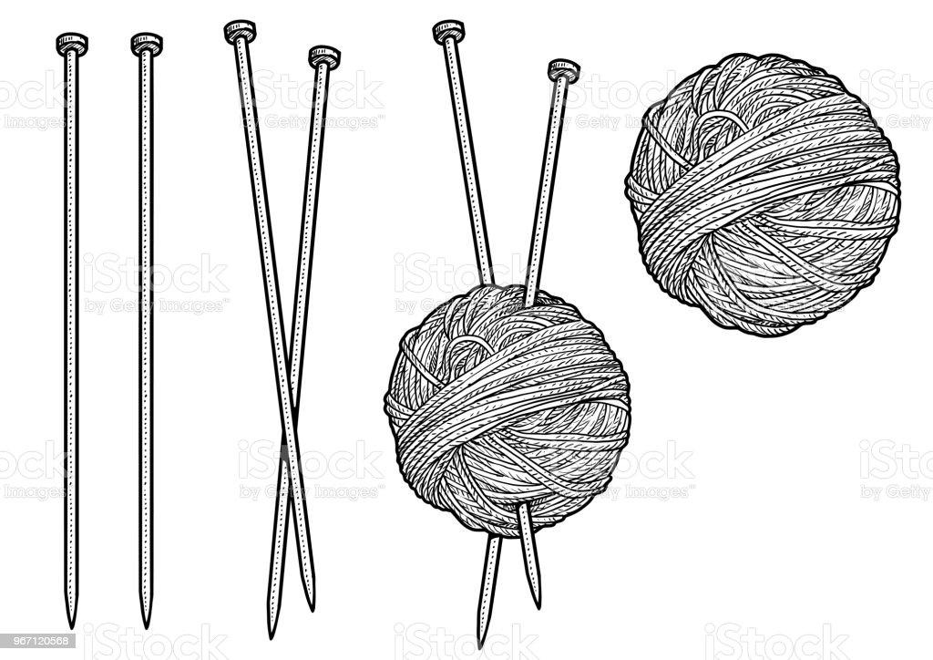 Yarn and knitting needles illustration, drawing, engraving, ink, line art, vector