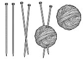 Yarn and knitting needles illustration, drawing, engraving, ink, line art, vector