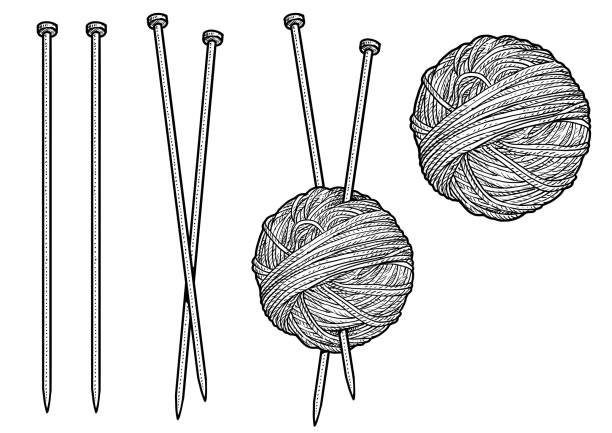 糸と針編み図では、ドローイング、彫刻、インク、ライン アートのベクトルします。 - 編む点のイラスト素材/クリップアート素材/マンガ素材/アイコン素材