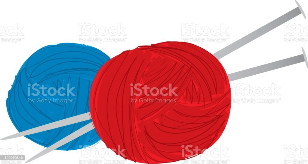 Yarn and Knitting Needles royalty-free stock vector art