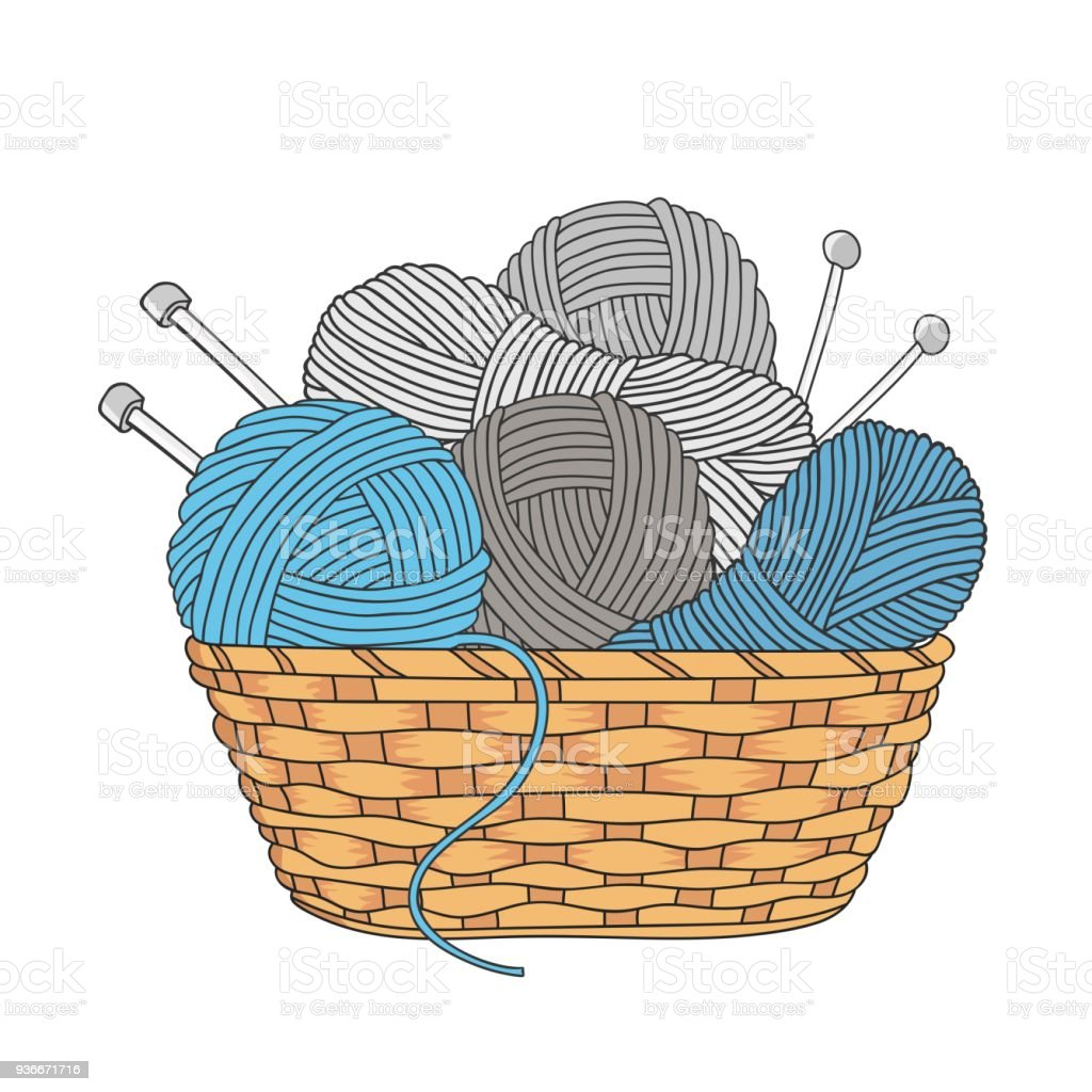 yarn and knitting needles vector art illustration