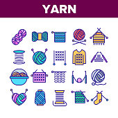 Yarn Ball For Knitting Collection Icons Set Vector