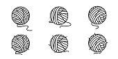 yarn ball vector icon balls of yarn knitting needles cat toy symbol cartoon illustration doodle