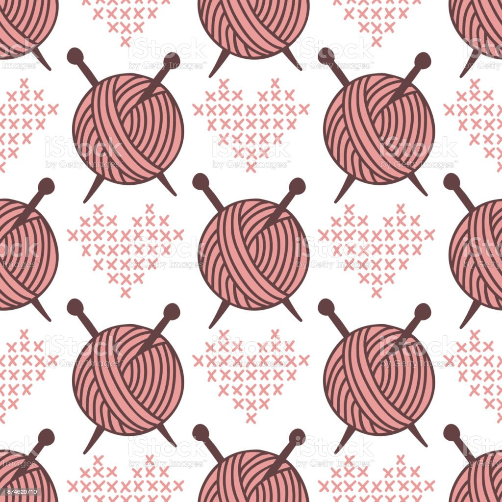 Yarn clew ball seamless pattern sewing wrapping woven paper background craft homemade fabric backdrop wallpaper vector illustration vector art illustration