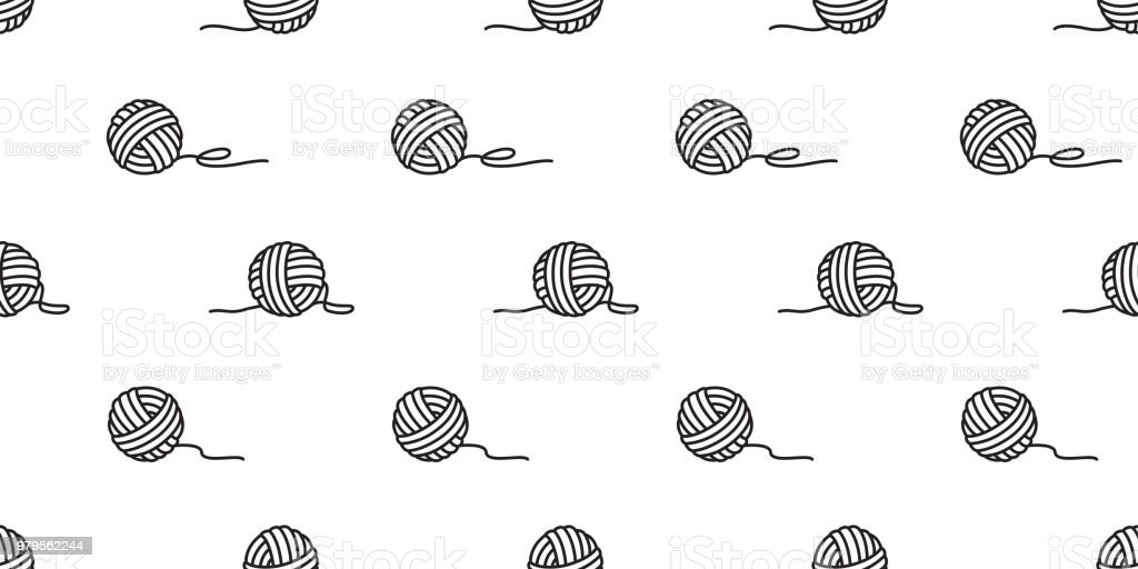 Ilustración de Hilo De Bolas De Vector Patrón Sin Costuras De Hilo ...