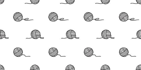 yarn seamless pattern vector balls of yarn knitting needles background wallpaper isolated