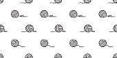 yarn seamless pattern vector balls of yarn knitting needles background wallpaper isolated