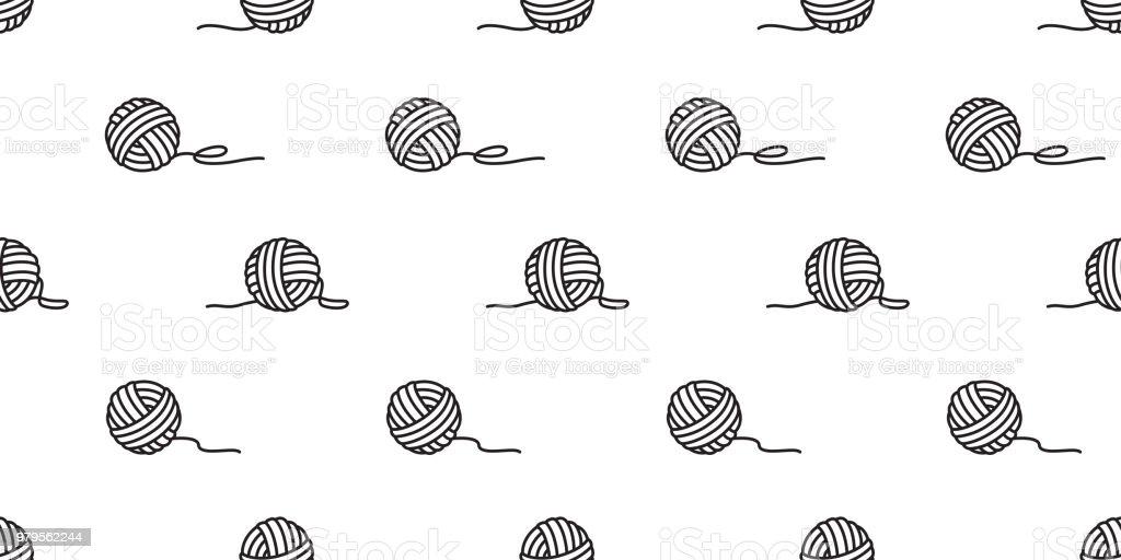 hilo de bolas de vector patrón sin costuras de hilo agujas fondo fondo aislado - ilustración de arte vectorial