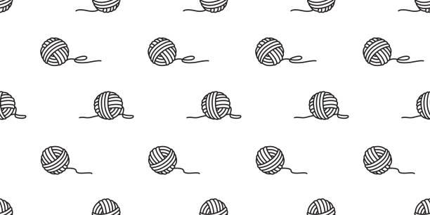 stockillustraties, clipart, cartoons en iconen met garen naadloze patroon vector ballen van garens, breipennen achtergrond behang geïsoleerd - wollig