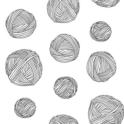 Yarn skeins, seamless background.
