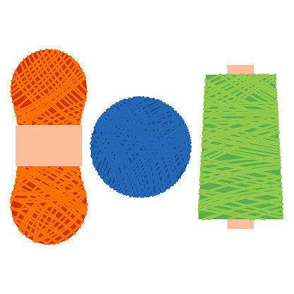 Yarn vector cartoon set isolated on a white background.
