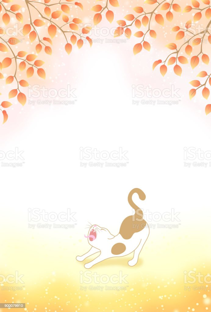 yawning cat in autumn forest vector art illustration
