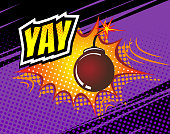 Yay. Vector Retro Comic Speech Bubble, Cartoon Comics Template. Mock-up of Comic Book Design Elements. Sound Effects, Colored Halftone Background
