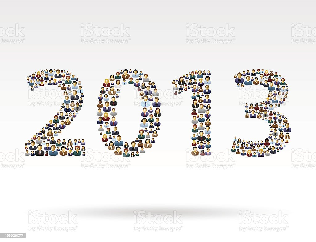 Year 2013 business people vector art illustration