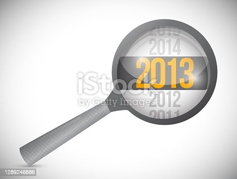 istock Year 2013 over a magnify glass. illustration 1289246886