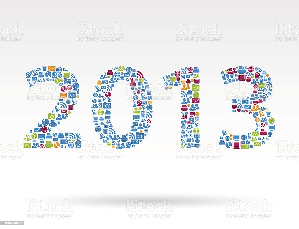 Year 2013 technology icons vector art illustration