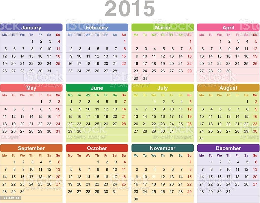 Year 2015 annual calendar (Monday first, English) vector art illustration