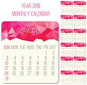 Year 2016 vector monthly calendar. Week starting from Sunday. Contemporary low poly design in pink color.
