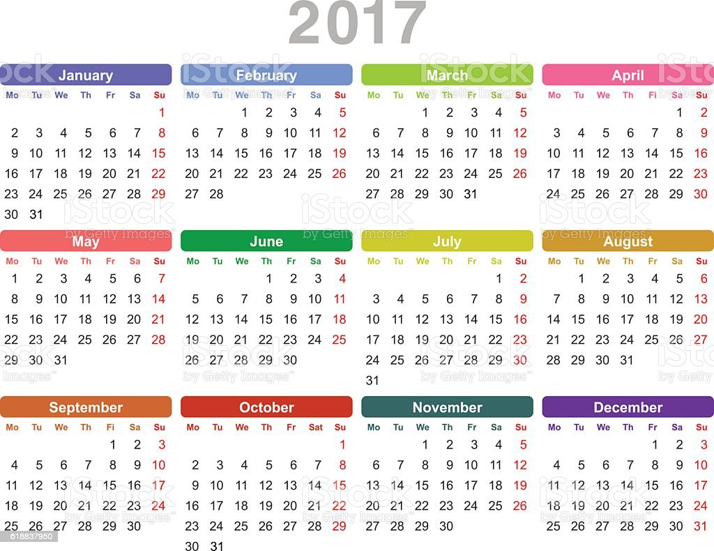 Year 2017 Annual Calendar Stock Vector Art 618837950 Istock