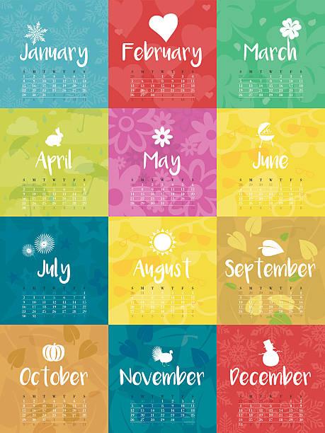 year 2017 monthly calendar colorful vector illustration - monatskalender stock-grafiken, -clipart, -cartoons und -symbole