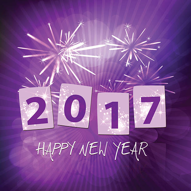 year 2017 new years eve fireworks purple background with rays vector art illustration