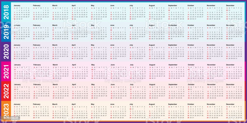 year 2018 2019 2020 2021 2022 2023 calendar vector royalty free year 2018 2019 2020