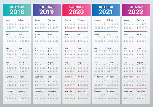 Year 2018 2019 2020 2021 2022 Calendar Vector Stock ...