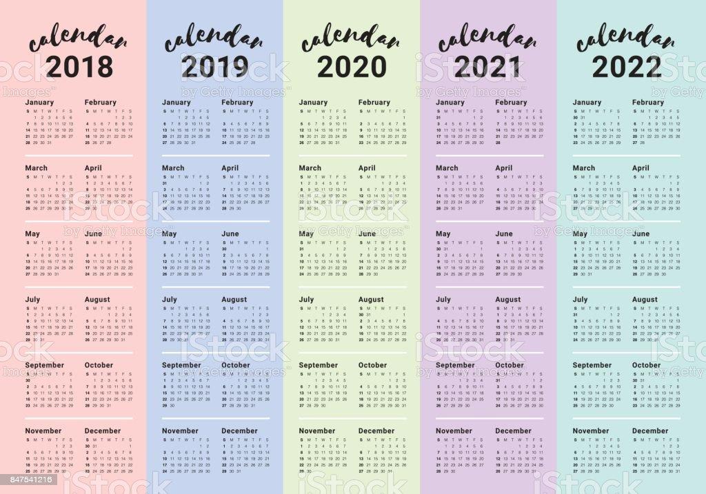 Ilustración de Vector De Calendario Año 2018 2019 2020 ...